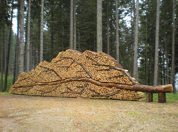 log and wood piling - wood art, works of art