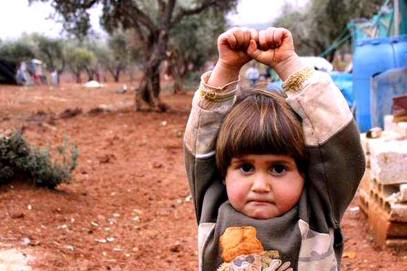 child surrender over camera-sad