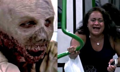 scariest zombie metro train prank