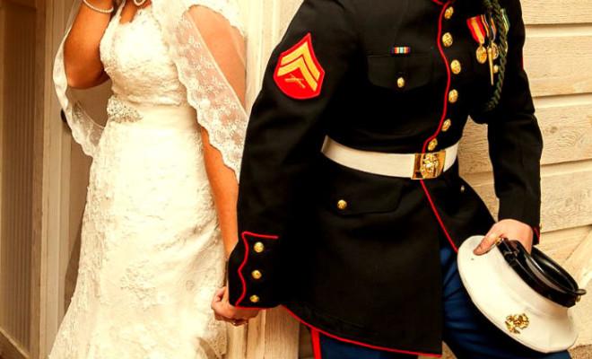 emotional photo of marine wedding by dwayne schmidt