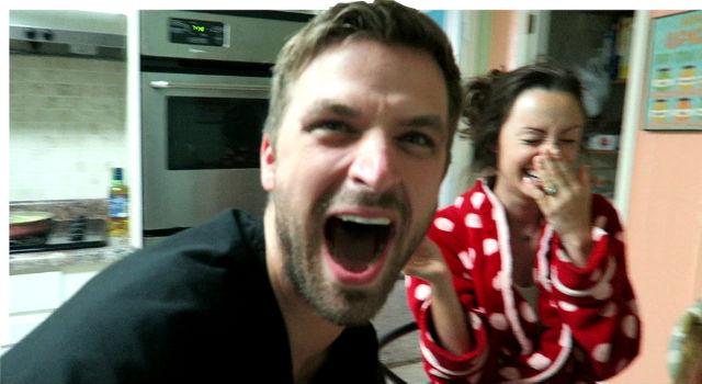 couple pregnancy test announcement viral