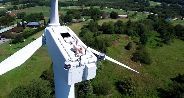 viral man drone sunbathing 200feet turbine crazy