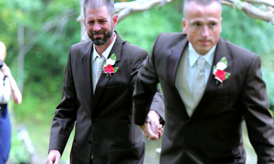 stepfather and father walk on wedding viral