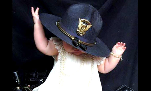 Photo of Toddler Wearing State Trooper hat
