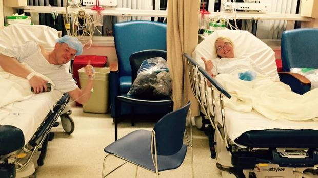 Heather Krueger and Chris Dempsey at the hospital
