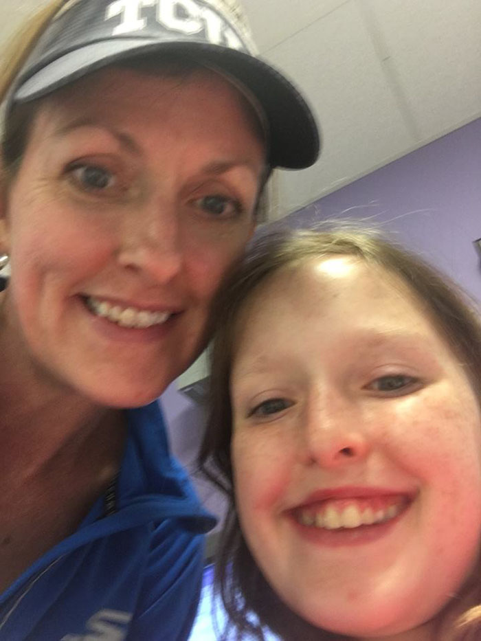 Kelly Rose Joniec and daugther Britton before surgery