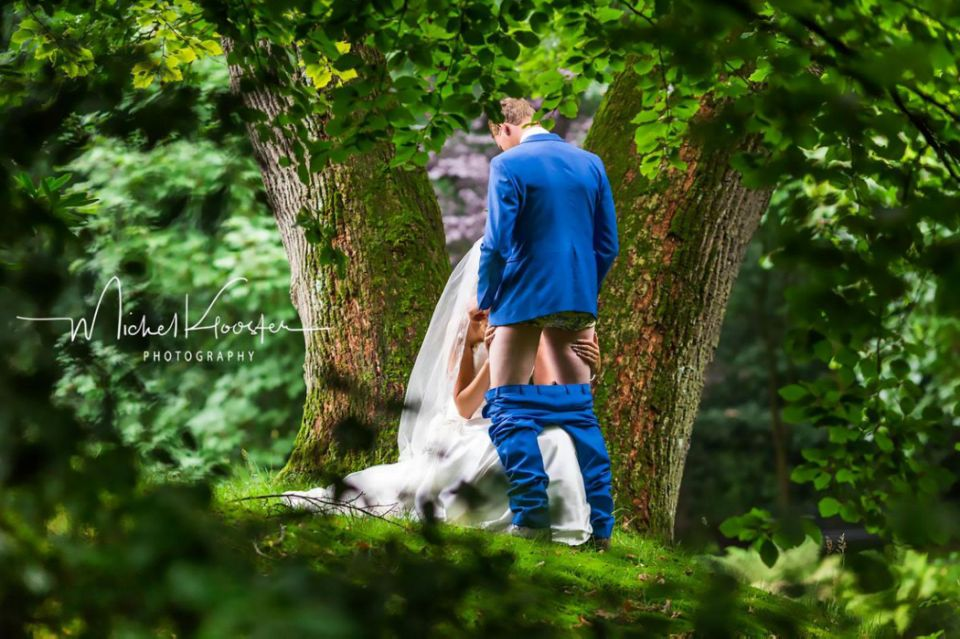 The groom the bride fucked hard in the woods 6