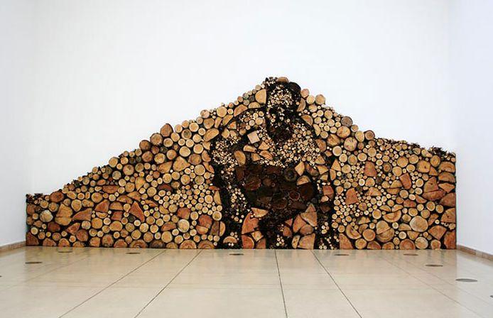 log and wood piling - wood art, works of art