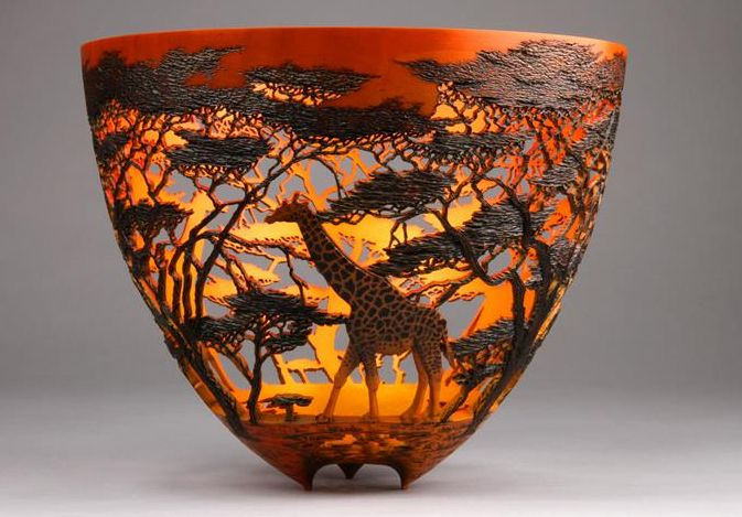 African Dream Sunset 1 - wood art by Gordon Pembridge class=aligncenter size-full wp-image-9735